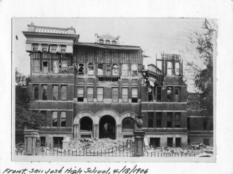 Damage to the San Jose High School after the 1906 Earthquake
