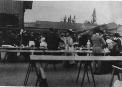 Relief tables set up in the streets of San Jose after the 1906 earthquake