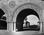 1940 Stanford University Memorial courtyard and entrance.