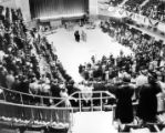 People gathered in an assembly hall at Grange convention