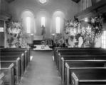 Casket in an empty church