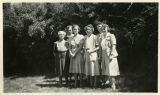1940, Six library staff posing outside