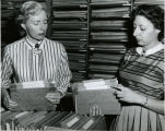 1951, Old Post Office building,  Peggy McDaniel and Shirley Gano