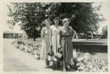 1943, Three Library Staff Pose on a Pathway
