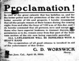 Proclamation 1906, Mayor G. D. Worswick.