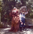 Theodore the bear and Tumbleweed the gold digger at Frontier Village.