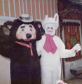 Theodore the bear and the Easter Bunny at Frontier Village.