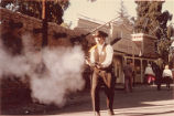 Marshall Clyde performing hourly gunfight at Frontier Village.