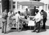 Jack Douglas working at the mobile book stand.
