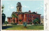 Color postcard of Second San Jose State Normal School.