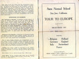 Tour to Europe pamphlet.