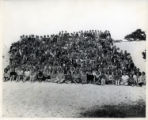 Large group portrait of teenage girls at Asilomar for a Y-Teens Conference