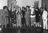 Female impersonators at a Christmas party.