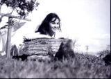 Patricia Whiting on farm with cat